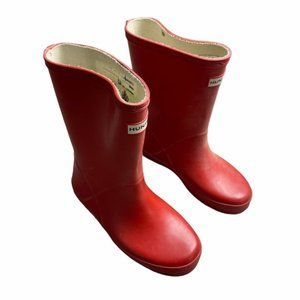 HUNTER Red Waterproof Rain Boots Youth 13B/1G
